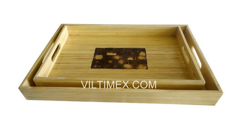 Environmentally Friendly Bamboo Tray With Natural Color