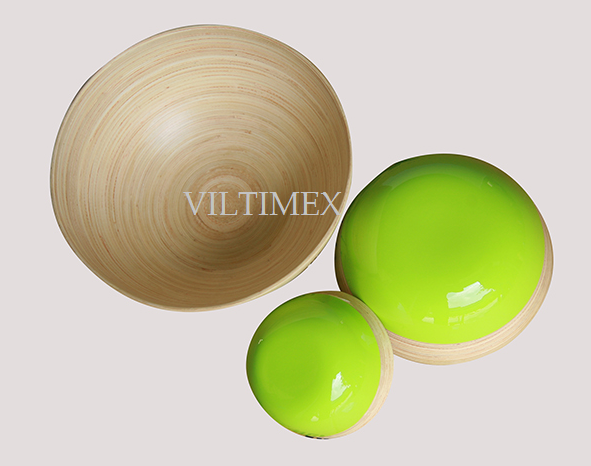 Coiled Bamboo Bowls Set - Lime & Natural Colour