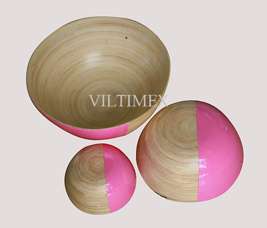 Coiled Bamboo Bowls Set - Pink & Natural Colour