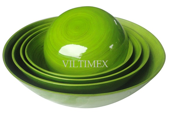 Lacquered Bamboo Green Serving Bowls