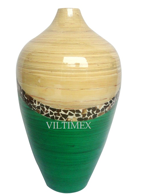 Natural Bamboo Vase, Cream & Green